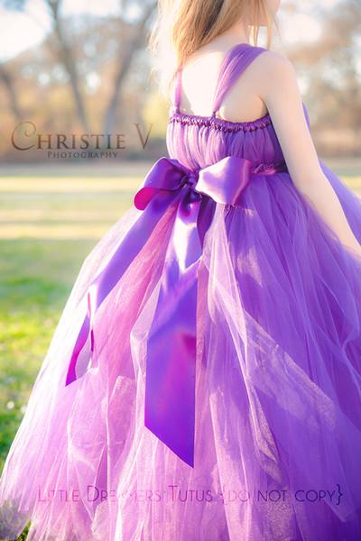 Cheap Kid Prom Dresses 2016 Purple Tulle Long Girls