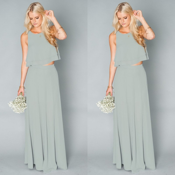 Two Pieces Beach Bridesmaid Dresses