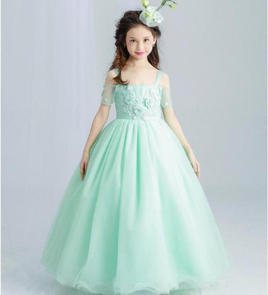 Compre Dulce Verde Menta Vestido De Niña De Flores Para La Boda Piso Longitud Apliques Grano Fiesta Infantil Vestidos De Baile Vestidos De Primera