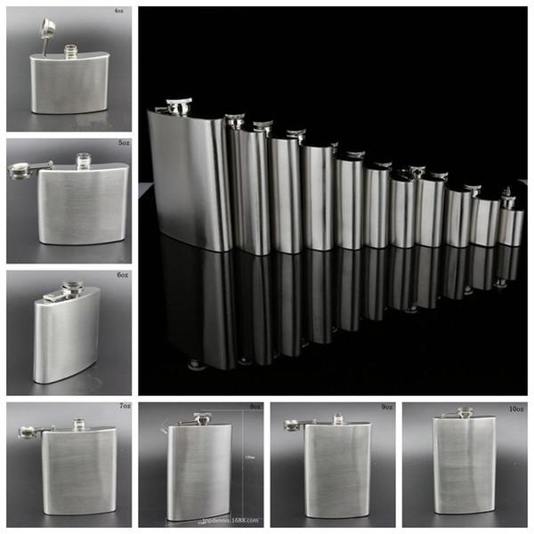 Flacons pour hanches en acier inoxydable 4 oz 5 oz 6 oz 7 oz 8 oz 9 oz 10 oz Whisky Stoup Pot de vin en alcool portable à l'extérieur OOA3261