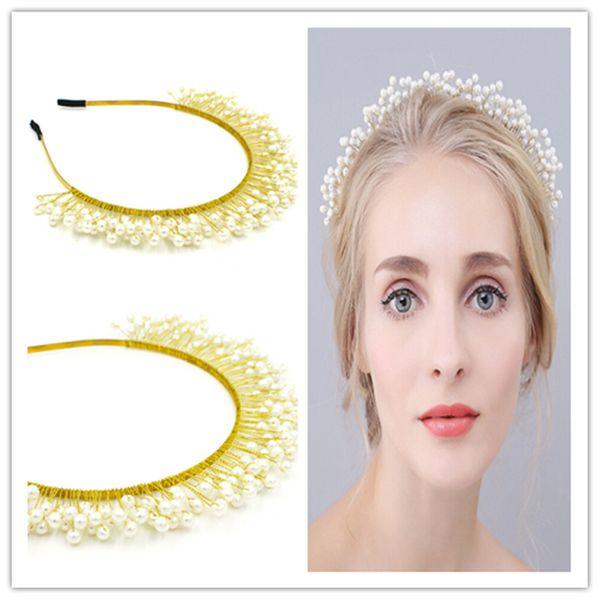 Vintage Wedding Bridal Pearl Headpiece Crown Tiara Headband White Crystal Rhinestone Hair Accessories Jewelry Princess Queen Beaded Hairband