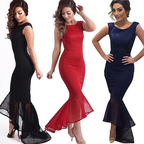 top popular Women's fashion sexy summer new body sculpting package hip Fishtail irregular organza skirt sleeveless evening party wedding slim dress 2021