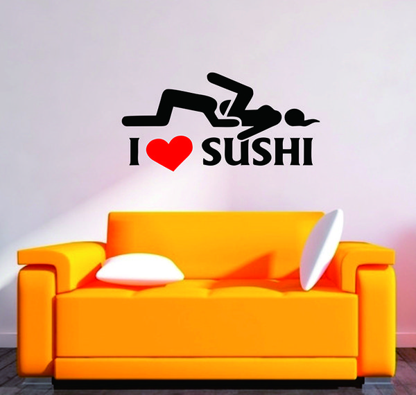 I Love Sushi Adult Sex Funny Wall Sticker Room Interior Art Vinyl ...