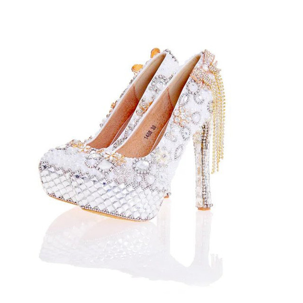 2017 New Arrival Women High Heel Shoes White Pearl and Crystal Wedding Dresss Shoes with Bow Tassel Rhinestone Prom Party Pumps
