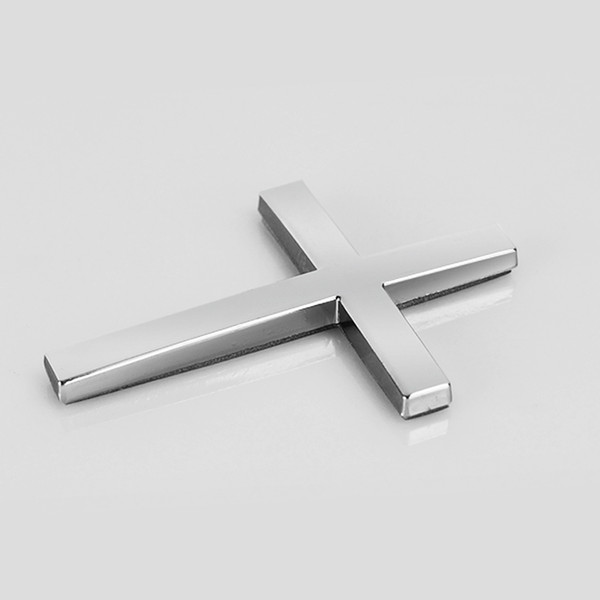 500pcs Silver Cross Crucifix Metal 3D Car Body Decorate Badge Emblem Sticker Auto Sticker Emblems Badges Car Trail 47*65mm