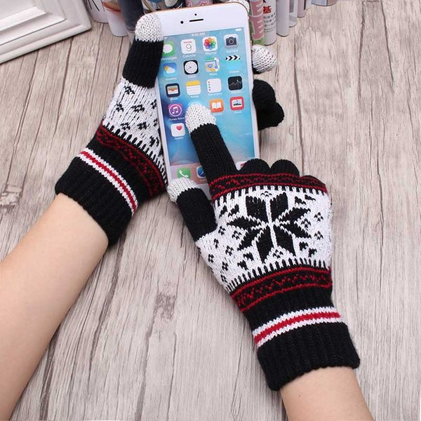 2017 Warm Winter Female Gloves Wool Knitted Wrist Gloves Women Men Snowflake Pattern Full Finger Unisex Gloves Mittens