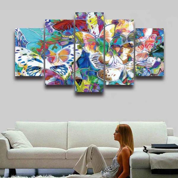 5 Panneau Toile Art Peinture Abstraite Coloré Fleur Papillon Grand HD Prints Modulaire Image Affiche pour Home Decor Salon