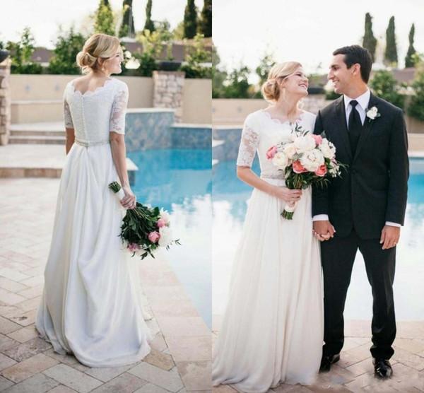 vestidos de novia White Vinatge Wedding Dresses Half Sleeves With Beaded Belt Cheap Modest Bridal Gowns Plus Size Wedding Dress