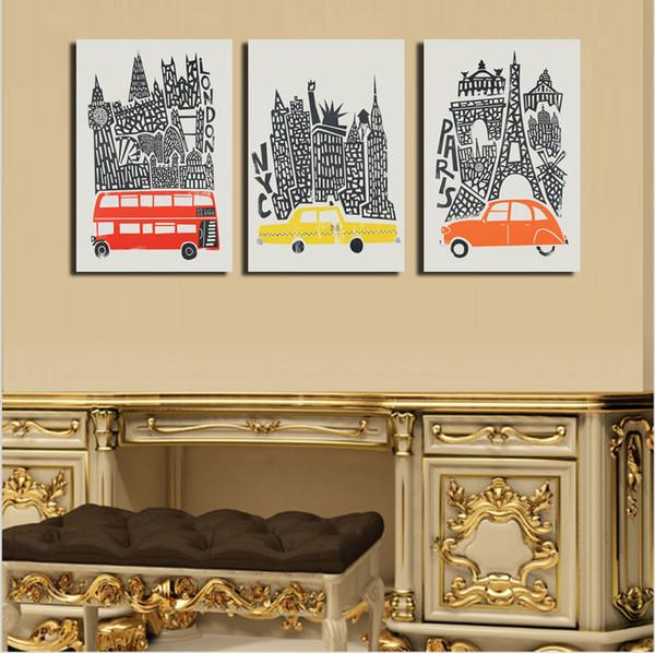 2018 Cars, London, New York, Paris Modern Abstract Canvas Oil ...