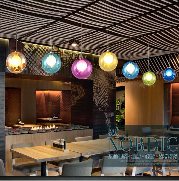 Großhandel Einfache Und Moderne Nordische Restaurant Kronleuchter Licht  Haus Kreative Persönlichkeit Cafe Kind Farbe Glas Blase Kronleuchter ...
