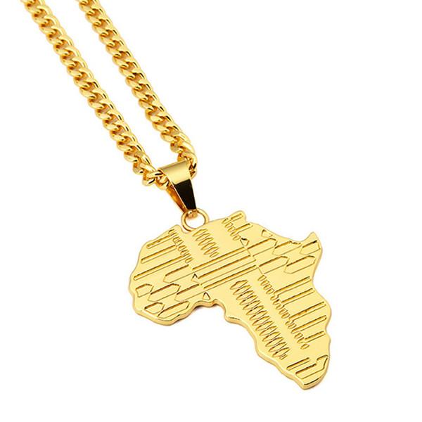 Trendy Rock Hippie African Map Collana pendente in oro 18 carati placcato oro catena lunga collane gioielli partito 2 colori per la scelta
