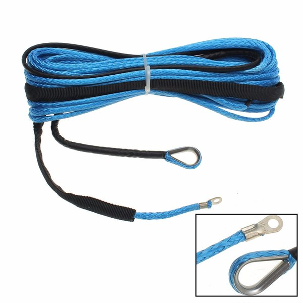 best selling Wholesale- 6mm x 15m 6400 LBs ATV Vehicle Synthetic Fiber Winch Rope Cable Replacement Blue