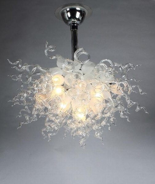 reputable site 360e9 1b9b8 Clear And White Chihuly Style Chandeliers Mini Bedroom Cheap High Ceiling  Hanging Hurricane Lamp Drum Pendant Light Ceiling Light Shade From ...