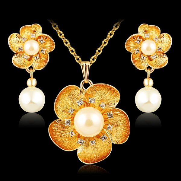 Crystal jewelry sets for women girl 18k gold platinum plated african nigerian wedding bridal flowers charm necklace earrings set