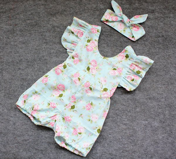 hot baby girl infant toddler 2piece outfits floral romper diaper covers bloomers Ruffles Lace + bowknot headband headwrap cotton