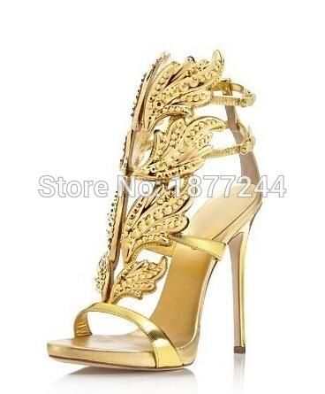 Newest Hot Selling Gold Silver Cruel Embellished Angel Wing High Heel Sandals Brand Gilded Cage Sandals Women Leaf Pumps