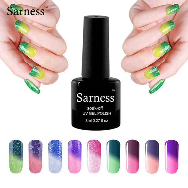 Wholesale- sarness 1pc 8ml Temperature Change Nail Gel 29 Colors Thermo Varnish Mood Color UV Gel Varnish Soak Off Foil Adhesive