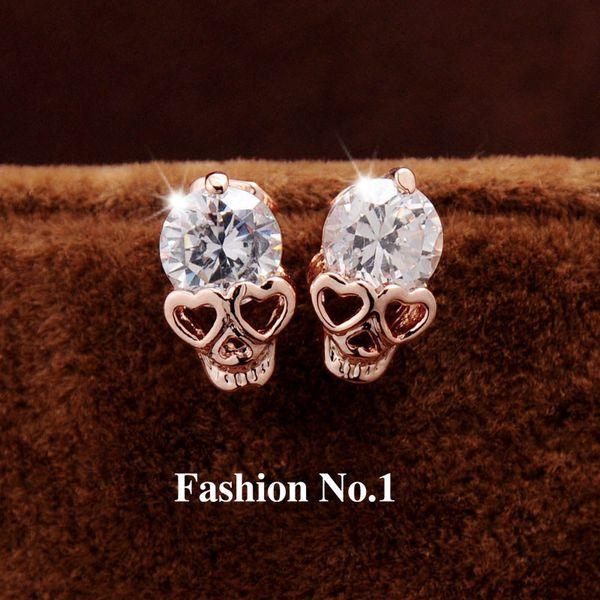 Nueva moda mujer joyería Vintage Stud pendientes CZ Diamond 18K chapado en oro Skull Skeleton Charm Stud pendientes