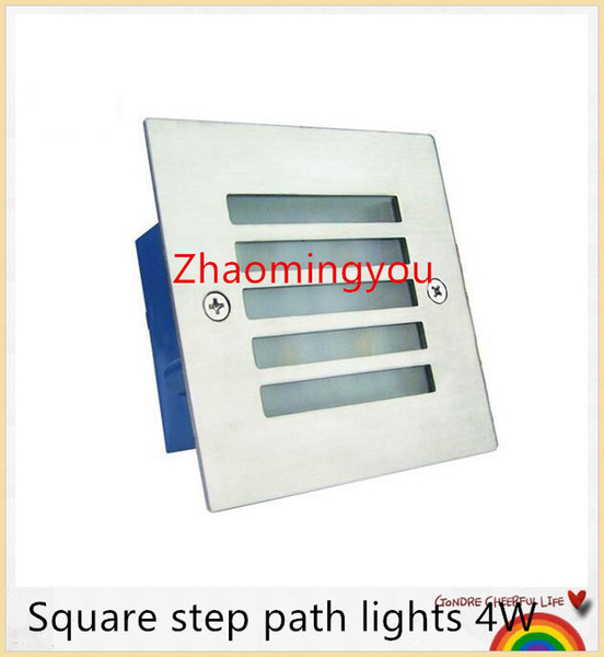 Free shipping Square step path lights 4W 400lm AC 85-265V ulter bright high power led fixtures aluminum waterproof outdoor led light lamp