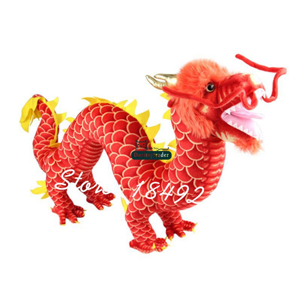 Dorimytrader 85 cm X 50 cm Grand Peluche Doux Chinois Dragon Jouet Animal de Bande Dessinée Dragon Mascotte Poupée Belle Bébé Cadeau Livraison Gratuite DY61113