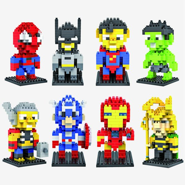 LOZ Diamond Super Heroes Building Blocks Superman Iron Hulk Bat Man Block Toys For Children Bricks Kids Gift Toy 8pcs/lot