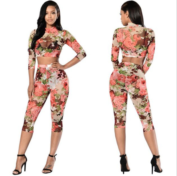 Wholesale- Rompers Womens Jumpsuit Casual Rose prints Two Piece Jumpsuits Set Bodysuit Women Sexy Tracksuit For Women yoga pants