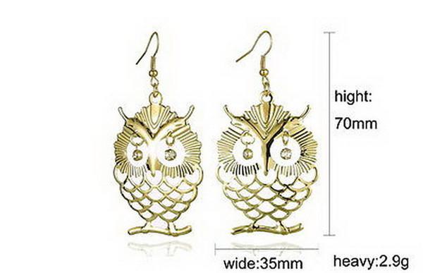 Fashion Owl Stud Earrings Fish Hooks Earings Dangles Chandelier Crystal 18K Gold Charm Earring Womens Jewelry Eardrop Accessories Free DHL