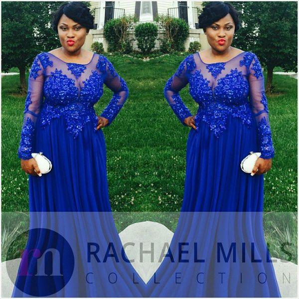 Royal Blue Plus Size Prom Dresses 2019 Generous Long Sleeve Sheer Formal  Women Evening Gowns Empire Vestidos De Formatura Cheap Prom Dresses Under  50 ...