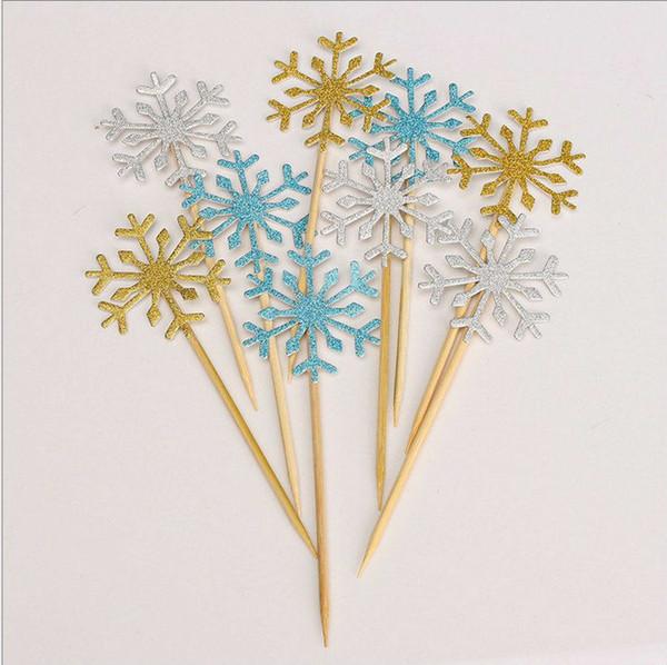 Silver/Blue/Gold Snowflake Cake Topper Cupcake Topper Cake Decortaion Christmas Party Supplies 100pcs/lot DEC065