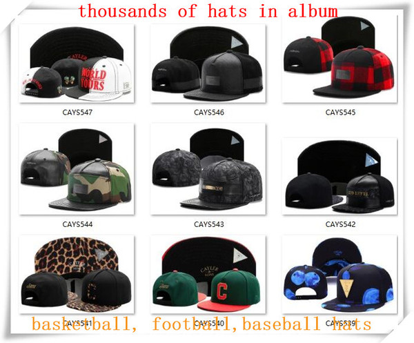 top popular New Snapback Hats Cap Cayler Sons Snap back Baseball football basketball casual Caps adjustable size drop Shipping choose from album CY20 2020