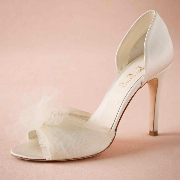 Fildişi Tül Çiçek Düğün Ayakkabıları Sipariş Üzerine Düğün Pompaları Saten Üst Slip-ons Parti Dansı 3.5
