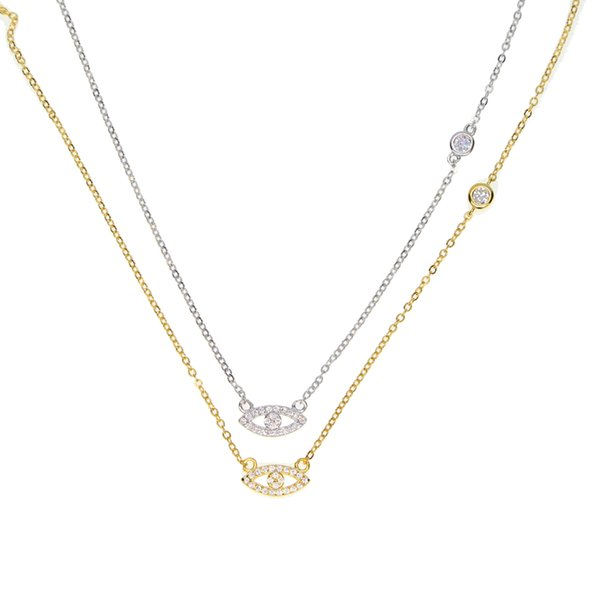 2017 factory fine 925 sterling silver gold plated micro pave cz tiny cute evil eye cz cross link dainty delicate thin silver chain necklace