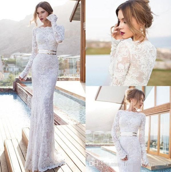 Julie Vino Sheer Wedding Dresses Bateau Neck Long Sleeves Floor Length Sheath Bridal Gowns Sash Simple Beach Wedding Gowns 2017 Hot Custom