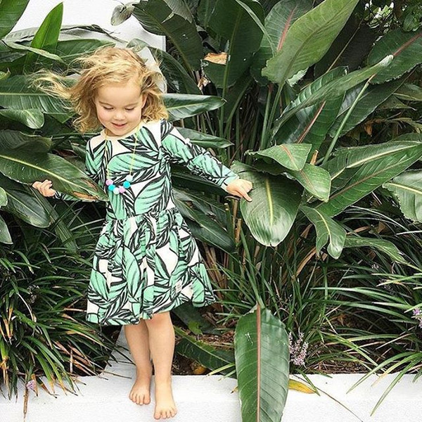 Little Girls Leaves Print Dresses Spring 18 Kids Boutique Clothing Euro America INS Hot Sale Children Girls Long Sleeves Cotton Dresses