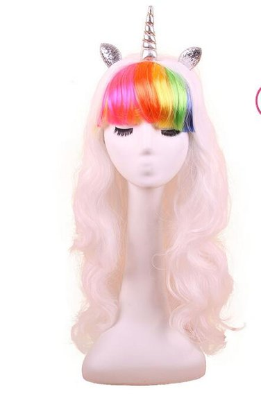 10pcs DHL Rainbow Dash Multi Color Heat Resistant Synthetic Hair Party Unicorn Wig 5 Styles Colorful Cosplay Wigs