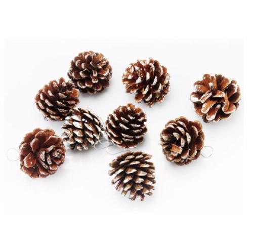 9pcs one package Christmas Tree Hanging Balls Pine Cones Pinecone Xmas New Year Holiday Party Decoration Ornament For Home Parties Supplies