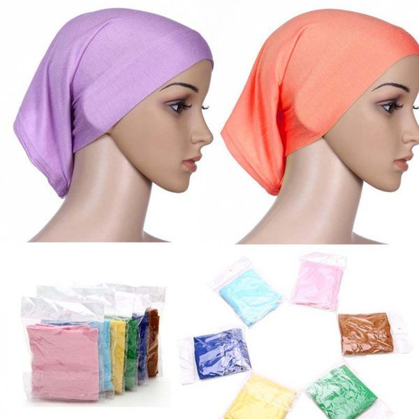 best selling High Elasticity Multi Colors Islamic Muslim Women's Head Scarf Mercerized Cotton Underscarf Hijab Cover Bonnet Free Shipping