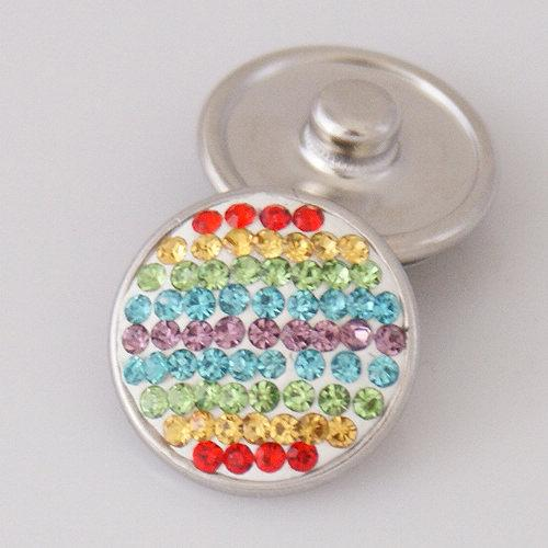 Hot sale KB2402-AO rainbow stripe rhinestone 18MM snap buttons for DIY ginger snap bracelets Accessories charm jewelry