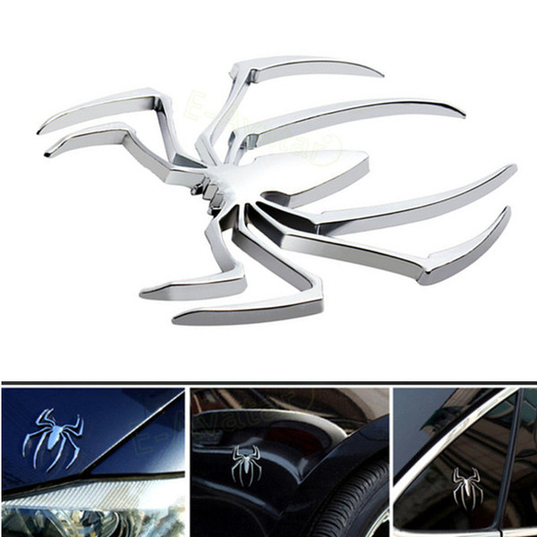 Car Styling Accessories 3D Metal Sticker Chrome Spider Shape Logo Motorcycle Decal For VW Audi Jeep Opel Skoda Benz Ford