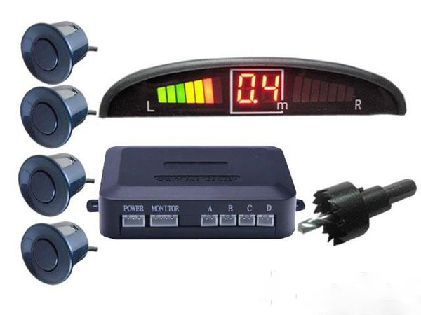 Car LED Parking Sensor Assistance Reverse Backup Radar Monitor System Backlight Display+4 Sensors without retail packing