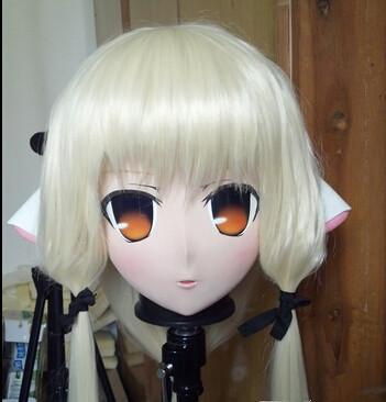 (C2-066) 2016 KIG Máscaras de goma de silicona para mujer Cabeza completa con peluca Cosplay Máscara Kigurumi Crossdresser Doll Anime Juego de roles