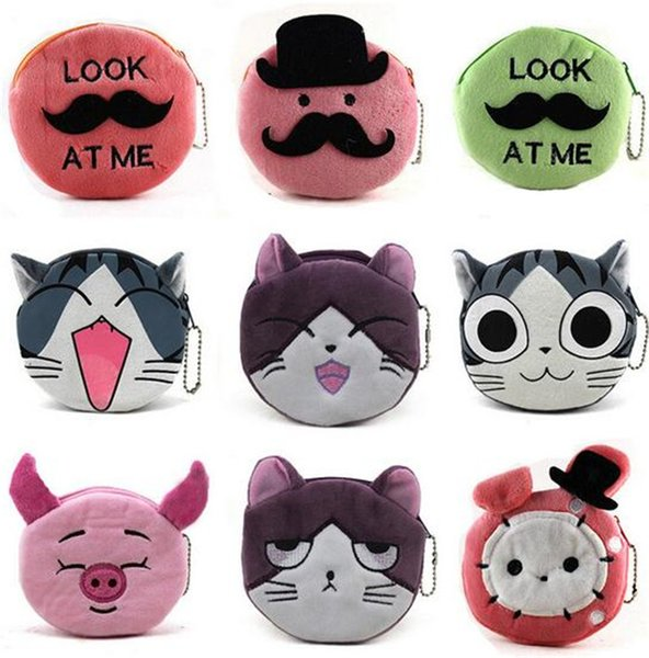 1000pcs 16 designs cartoon QQ expression cat girl Coin Purses cute emoji coin bag plush pendant smile wallet D731