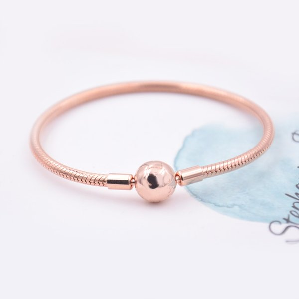 2017 New Rose gold Moments smooth Clasp Bracelets fit Pandora Bracele 925 sterling silver charms beads DIY for women bangle fine Diy Jewelry