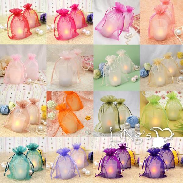 Sacs de cadeau Organza Wedding Party Faveur Décoration Cadeau Candy Sheer Purple Wedding Gift Sacs Bonbons Couleur Soie Cadeau Sacs
