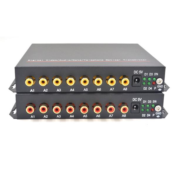 High Quality 8 Channel Hi Fi Audio Fiber Optical Media Converters 8RCA Transmitter Receiver Single mode 20km for Intercom System