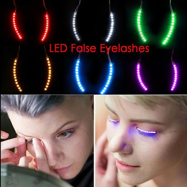 Hot LED Eyelashes Fashion False Eyelashes Waterproof LED Lights Luminous Shining Charming Fake Eyelashes for Party Bar Christmas Halloween