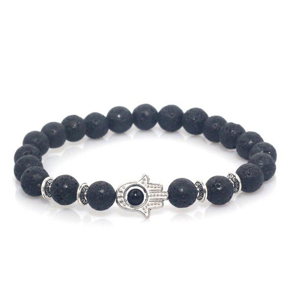 8mm Lava Stone Natural Stone Beads Fatima Hand Hamsa Stretch Elastic Mens Bracelet
