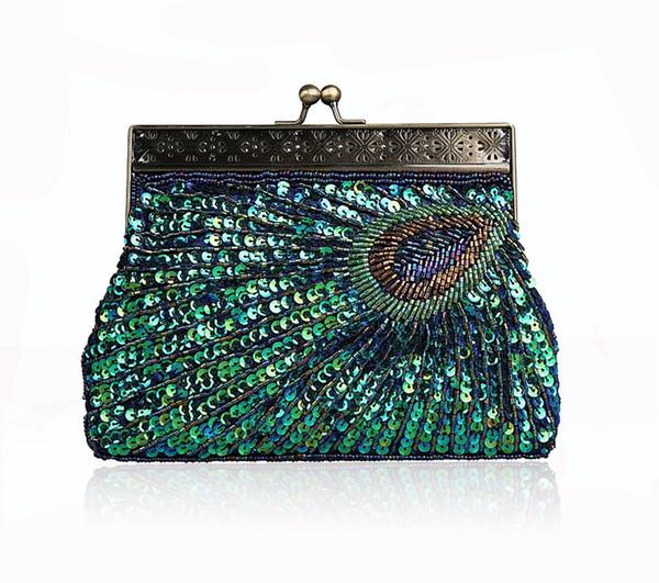 Neue Mode Vintage Pfau Handgemachte Perlen Frauen Abendtasche Dame Pailletten Handtasche Mit Griff Luxus Kupplung Brieftasche Geldbörse Für Hochzeit