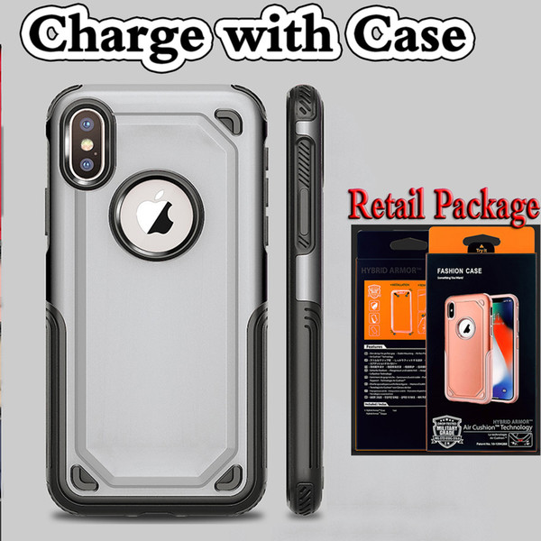 TPU hybride + pc 2 en 1 recharge sans fil avec étui pour iPhone X 8 plus 6 6s Samsung S7 edge Sam8sung S8 S9 Note Shockproof Armor Anti-slip