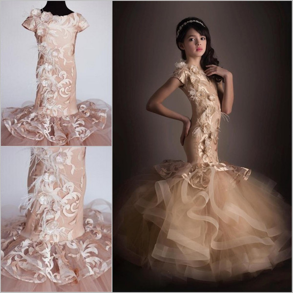 Mermaid Girls Pageant Dresses With Short Sleeves Lace Tulle Handmde Flowers Floor Length Champagne Pageant Dresses For Teens